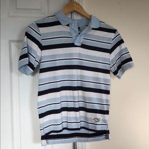 Boys blue striped shirt sleeve polo size small